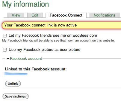 [Facebook connect options in EcoBees screenshot]